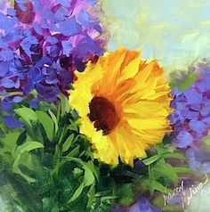 Bright Days Sunflower and a North Texas Workshop - Flower Painting Classes by Nancy Medina Art, painting by artist Nancy Medina