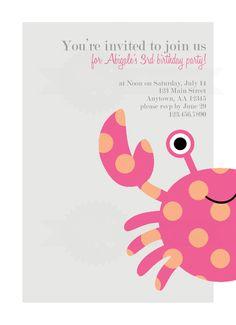 Modern Crab Birthday Party Invitation. $10.00, via Etsy.