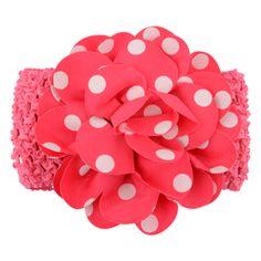 Gorgeous polka dot flower headband in cerise. (One size) £1.49