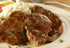 Pork Tenderloin Diane Nothing could be easier - or more elegant - than this French preparation for sauteed meat. Pork Sausage Recipes, Pork Chop Recipes, Meat Recipes, Cooking Recipes, Game Recipes, Pork Ham, Baked Pork, Pork Tenderloin Medallions, Beef Medallions