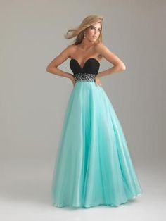 Water Blue & Black Chiffon & Tulle Deep Sweetheart Beaded Empire Waist Prom Gown - Unique Vintage  I LOVE THIS