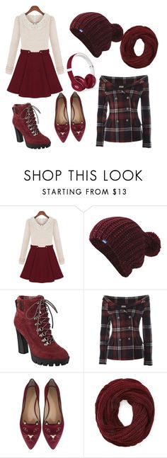 """holiday reds"" by kennedy-s-raynor ❤ liked on Polyvore featuring Keds, Nine West, Faith Connexion, Charlotte Olympia, Forever 21 and Beats by Dr. Dre"