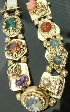 14k YG Antique Vintage Slide Bracelet with 8  Gemstone Slide Charms
