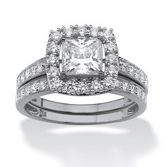 Palm Beach Jewelry PalmBeach 1.93 TCW Princess-Cut Cubic Zirconia Two-Piece Bridal Set in Platinum over Sterling Classic CZ