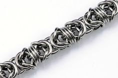 Flat wrapped steel Byzantine chain bracelet by TralalaLTD on Etsy, £17.20
