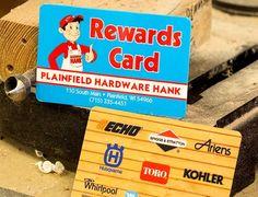Rewards card for Hardware Hank.