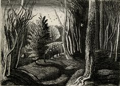 """Wood Interior"" by Graham Sutherland, 1928 (etching)"