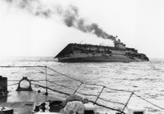 On September the Royal Navy aircraft carrier HMS Courageous was hit by torpedoes from the German submarine and sank within 20 minutes. The Courageous, on an anti-submarine patrol off. Naval History, Military History, British Aircraft Carrier, Royal Navy Aircraft Carriers, Invasion Of Poland, German Submarines, Abandoned Ships, Navy Ships, Battleship