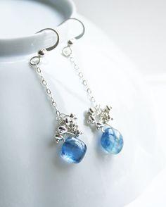 Blue Gemstone Earrings Gemstone Jewelry Something by laurastark, $80.00