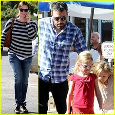 Ben Affleck wrangles his girls Violet and Seraphina as they make a trip to the farmer's market on Sunday (November 4) in Los Angeles.