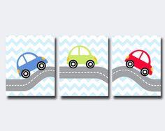 Car Nursery Wall Art Prints, Red, Green and Blue Car Nursery Prints, Baby Boy Nursery Wall Art Print Bedroom Decor - B485, B486, B487