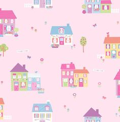 Brewster Home Fashions You Are My Sunshine Happy Street Houses x Scenic Wallpaper Color: Purple Scenic Wallpaper, Wallpaper Panels, Kids Wallpaper, Wallpaper Samples, Print Wallpaper, Wallpaper Roll, Sunshine Wallpaper, Wallpaper Patterns, Fall Wallpaper