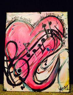 A pintura expressa a magia da música