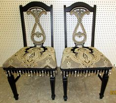 Black and taupe sophisticated whimsy chairs