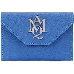 Alexander McQueen Insignia leather card holder (£145) ❤ liked on Polyvore featuring bags, wallets, real leather wallets, genuine leather wallet, alexander mcqueen wallet, leather wallets and decorating bags