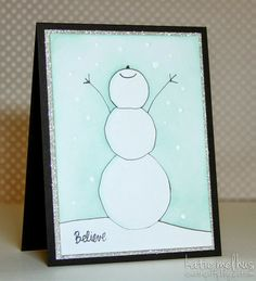 Hand Drawn Snowman Card by Katie Melhus - Sweet n Spiffy