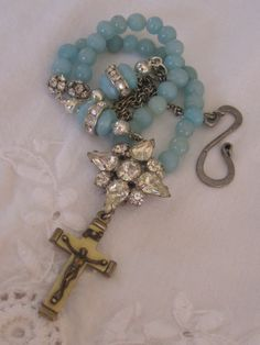 vintage repurposed assemblage jewelry necklace rosary crucifix rhinestone amazonite atelier paris.  via Etsy.