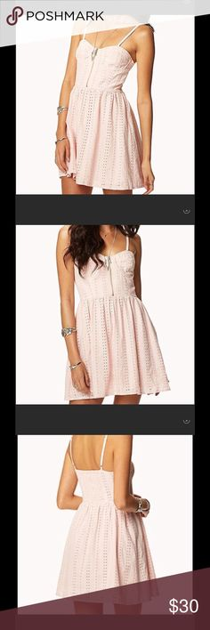 Urban outfitters eyelet dress Beautiful summer eyelet baby pink dress, wore once, very comfortable you can wear with/without bra (: open to offers Urban Outfitters Dresses Mini