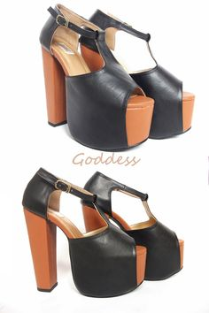 chunky heel // synthetic leather material // @thegoddessshoes