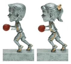 Dual action pivots - the head bops up and down while the body rocks back and forth for total motion. Includes a personalized engraving plate with 3 lines of engraving. 30 characters/spaces per line. Basketball Trophies, Pewter Color, Colored Highlights, Antique Pewter, Rock N, Bobble Head, Lion Sculpture, Statue, Female