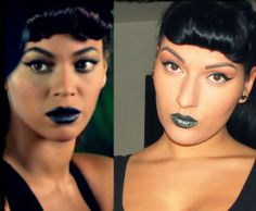 This Halloween, Dress up as Beyonce' for a sexy, sleek, vintage look. The metallic blue lips paired with the dramatic winged eye and baby bangs will really have you looking different and glamorous!