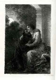 Scène d'amour (1886), lithograph by Henri Fantin-Latour (1836-1904), from Act 3 of Lohengrin (1848), by Richard Wagner (1813-1883).