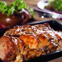 Sertéskaraj Orloff módra Recept képpel - Mindmegette.hu - Receptek Pork Roast, Meat Recipes, Healthy Recipes, Sandwiches, Roasted Pork Tenderloins, Yummy Food, Good Food, Hungarian Recipes, Lebkuchen