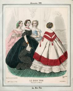 In the Swan's Shadow: Le Bon Ton, January Civil War Era Fashion Plate -- VERY interesting headdresses. 1850s Fashion, Victorian Fashion, Victorian Women, Vintage Fashion, Victorian Gothic, Steampunk Fashion, Gothic Lolita, Gothic Fashion, Historical Costume