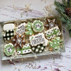 "So how do you feel about ""non-traditional"" Christmas decorating? These cookies remind me of decorating style. buffalo… So how do you feel about ""non-traditional"" Christmas decorating? These cookies remind me of decorating style. Cute Christmas Cookies, Christmas Biscuits, Iced Cookies, Christmas Sweets, Cute Cookies, Noel Christmas, Royal Icing Cookies, Christmas Goodies, Holiday Cookies"