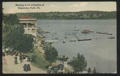Exposition Park Pennsylvania, PA : A Boating and Bathing Aerial View from 1907