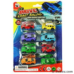 8 PIECE DIE CAST CRAZY RACING CARS. These metal die cast free wheeling cars will delight any car enthusiast. Each set of 8 blister carded. Size 1.5 Inch cars, packaging 8.5 X 5.5 Inches