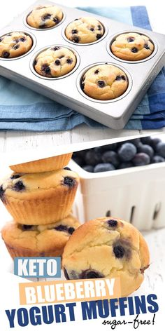 Melt in your mouth keto blueberry muffins! I first posted these on Instagram and people went wild for them so I decided I needed to do a full blog post. So tender and so easy to make. A perfect low carb breakfast treat. #blueberrymuffins #ketomuffins #ketodiet #yogurt #greekyogurt #easyketo #lowcarbrecipes Keto Foods, Keto Snacks, Blueberry Yogurt Muffins, Blue Berry Muffins, Blueberry Bread, Egg Muffins, Banana Bread, Low Carb Desserts, Low Carb Recipes