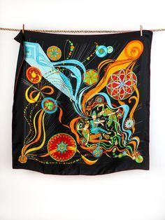 Vintage Hermes La Danse du Cosmos Silk Scarf by Flyinganyc, $425.00