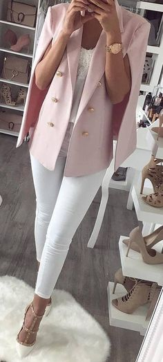 fashion trends / pink blazer + top + white skinnies + heels