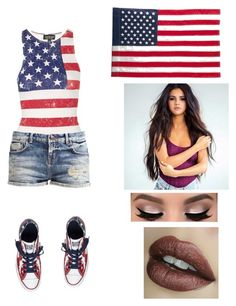 """Happy 4th of july "" by dorsaf-malinsky ❤ liked on Polyvore featuring Topshop, Evergreen Enterprises and Converse"