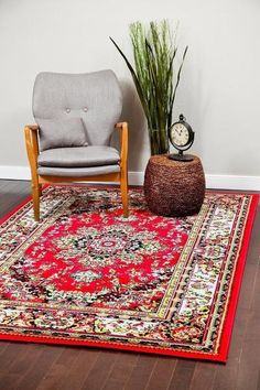 Red Oriental Colorful Persian Isfahan Area Rugs