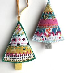 Hand Embroidered Felt Tiny Tree Lavender Bag- set of 2 Merry Little Christmas, Christmas Stockings, Christmas Crafts, Christmas Decorations, Lavender Crafts, Lavender Bags, Embroidered Christmas Ornaments, Felt Ornaments, Wooly Jumper