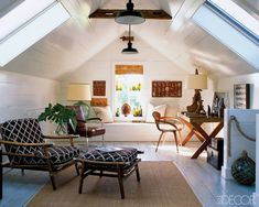 sloped ceiling, 50's armchair