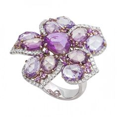 18k White Gold Ring Set with Rose-Cut Pink Sapphires and Round Sapphires by Jye