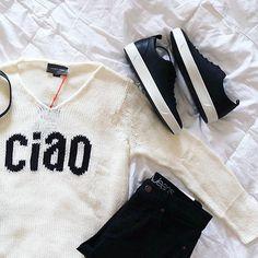 Ciao Bella 🖤 #lookoftheday #style #stylish #instafashion #igfashion #trendy #stylegram #trends #fashion #fashionista #outfit #ootd #love #wiw #fashionblogger #springfashion #wiwt #blogger #amazing #gorgeous #detail #potd  #obsessed #stunning #styleblogger Beach Sweater, Men Sweater, Sweaters For Women, Graphic Sweaters, Boho Chic, Spring Fashion, Knitwear, Ootd, One Piece