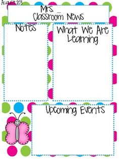 Editable class newsletter template --- Cute and simple. Might ...