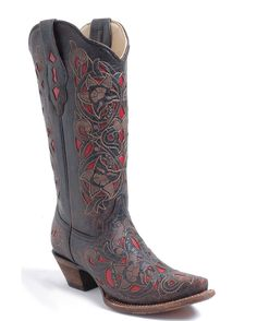 Corral Boots Women's Chocolate Floral Red Inlay Boots - A1951