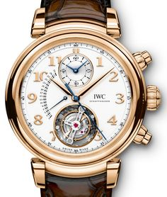 """Bringing the round case back and much more. One of IWC Schaffhausen most neglected collections is getting an update, it is of course the Da Vinci collection. Presenting the  IWC Da Vinci Tourbillon Rétrograde Chronograph. Here we have a flying """"hacking"""" tourbillon, where by the pull of the crown you stop the tourbillon/seconds... Read all about it at: http://www.ablogtowatch.com/iwc-da-vinci-chronograph-da-vinci-tourbillon-retrograde-watches/"""