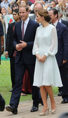 Kate chose a sheer-sleeved Beulah London dress, in the palest pastel blue, to tour a mosque in Kuala Lumpur. | POPSUGAR Fashion