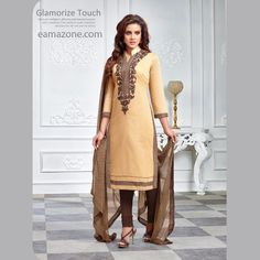 Amazing Embroidery Brown Semi Stitch Salwar Suit-462  ₹999