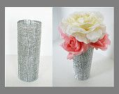 Elegant Wedding Centerpiece - Bouquet Holder - Diamond Rhinestone Silver Centerpiece Decoration. $9.50, via Etsy.