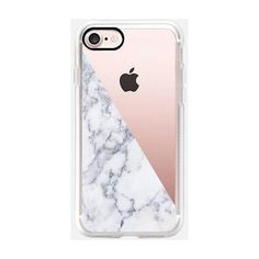 Casetify Marble Side Iphone 7 Case White By ($40) ❤ liked on Polyvore featuring accessories, tech accessories and electronics accessories