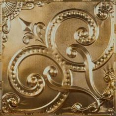 Tin Ceiling Tile Pattern is an embossed fleur de lys style design that creates an impressive large-scale look in installations. Good for high ceilings. Gold Metal, Metal Ceiling, Gold Ceiling, Tin Ceiling Tiles, Ceiling, Metal, Tin, Tile Patterns, Backsplash Patterns