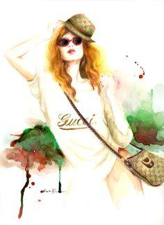 Fashion illustration - Gucci - art print. $20.00, via Etsy.