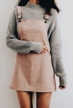 e43dfa60c7 pink overall dress with a grey mock neck sweater. Visit Daily Dress Me at  dailydressme